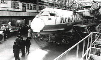 "Assembly of a flying boat BE-200 in the shops of Irkutsk aircraft enterprise. From the book by M.Vinokurov and A.Sukhodolov ""Economics of Irkutsk Region """